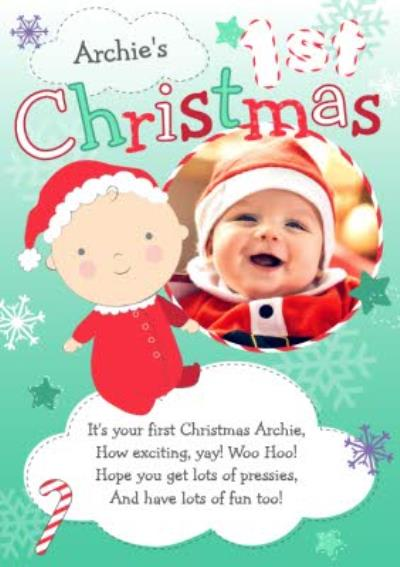 Green And White In The Clouds Personalised Photo Upload Baby's 1st Christmas Card
