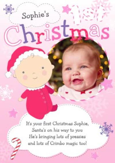 Purple And Pink In The Clouds Personalised Photo Upload Baby's 1st Christmas Card
