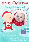 Baby And Clouds Nanny And Grandad Personalised Photo Upload Christmas Card