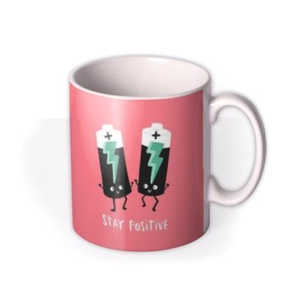 Lucy Maggie Stay Positive Batteries Pun Mug