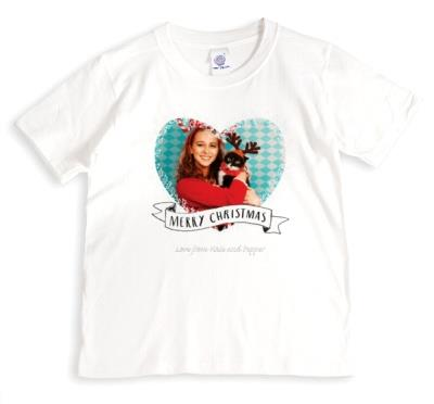 Merry Christmas Fairy Light Heart Photo Upload T-shirt