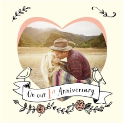 Pastel Yellow And Pink Heart Photo First Anniversary Card