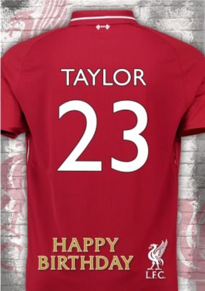 Liverpool FC Birthday Card - Name and number on Jersey card