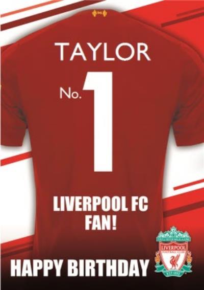 Liverpool FC Football Club No.1 Fan Football Shirt Birthday Card