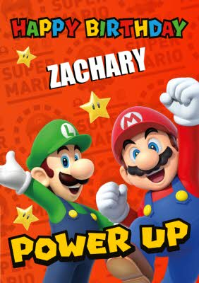 Super Mario Power Up Birthday Card