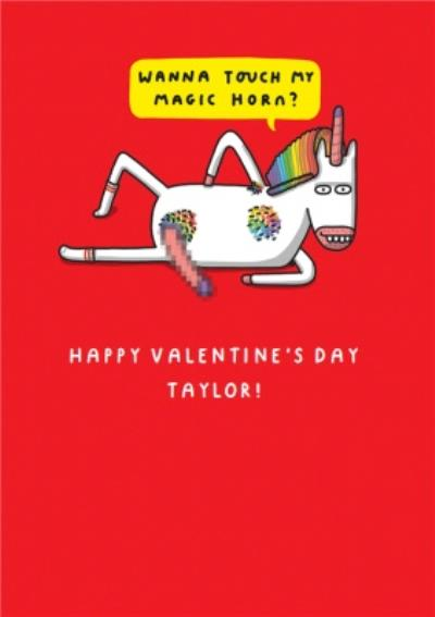 Mungo And Shoddy Rude Unicorn With The Magic Horn Valentine's Day Card