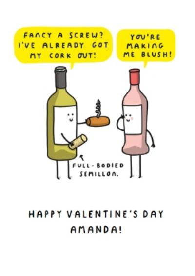 Mungo And Shoddy Rude Fancy A Screw Wine themed Valentine's Day Card