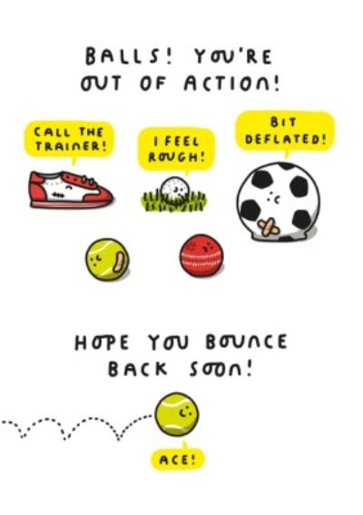 Funny Pun Balls Youre Out Of Action Get Well Soon Card