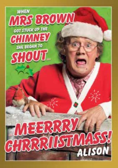 Funny Mrs Brown's Boys Up A Chimney Christmas Card