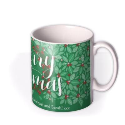Merry Christmas Green Holly Personalised Text Mug