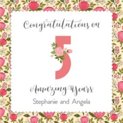 Merry And Bright Floral Background Personalised Happy 5th Anniversary Card