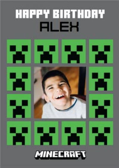 Minecraft Creeper Photo Upload Birthday Card
