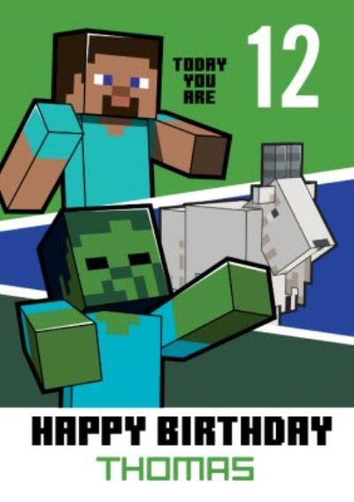 Minecraft 12th Birthday Card