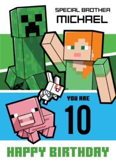 Minecraft 10th Birthday Card
