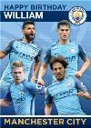 Manchester City Football Players Birthday Card