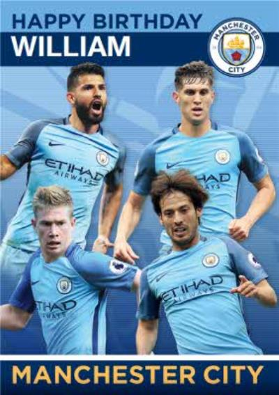 Manchester City Football Players Birthday Card