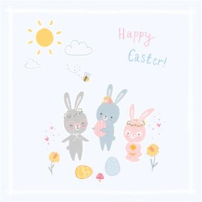 Cute Illustrated Easter Bunny Happy Easter Card