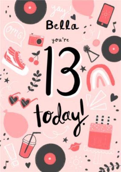 Illustrated Pink Retro 13th Birthday Card