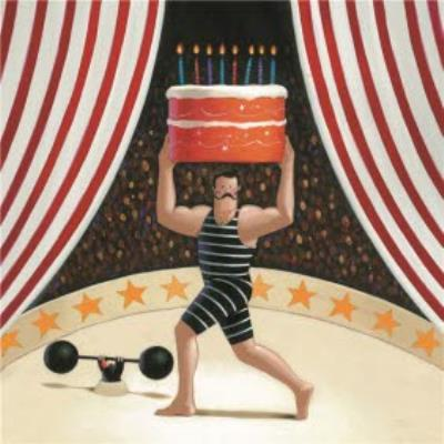 Strongman With Cake Personalised Happy Birthday Card