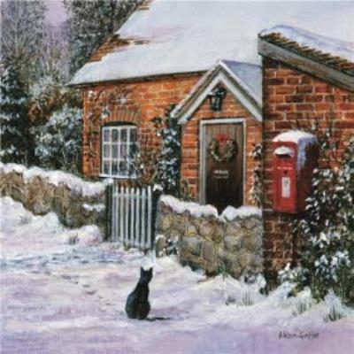 Wintertime Cottage House Traditional Christmas Card