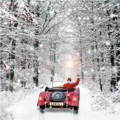 Santa Driving Through The Snow Painted Square Christmas Card