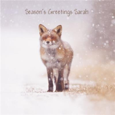Fox In The Snow Personalised Square Christmas Card