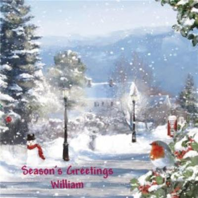 Wintry Scene With Robin Personalised Christmas Card