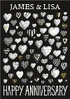 Black And White Hearts Personalised Happy Anniversary Card