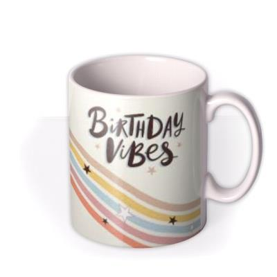 Birthday Vibes Retro Photo Upload Mug