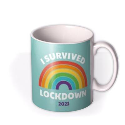 I Survived Lockdown 2021 Photo Upload Rainbow Mug