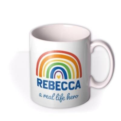 Rainbow Illustration A Real Life Hero Personalised Mug