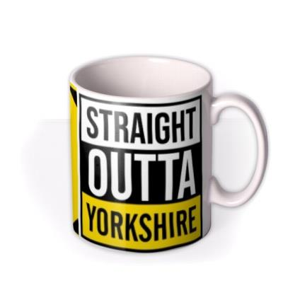 Typographic Straight Outta Yorkshire Personalised Mug