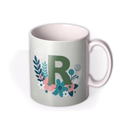 Floral Grey Personalise Letter Photo Upload Mug