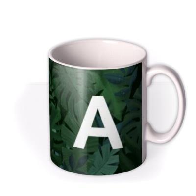 Leaves Background Personalise Letter Mug