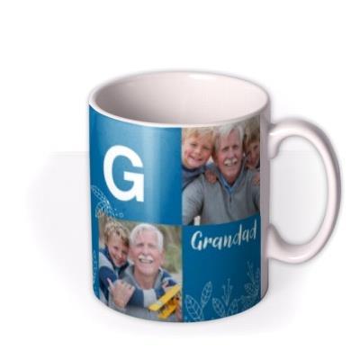 Grandad Multi Photo Upload Personalise Letter Mug