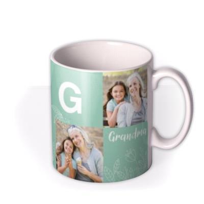 Grandma Multi Photo Upload Personalise Letter Mug