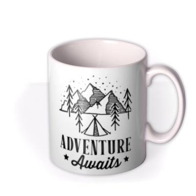 Adventure Awaits Typographic Outdoors Illustration Photo Upload Mug