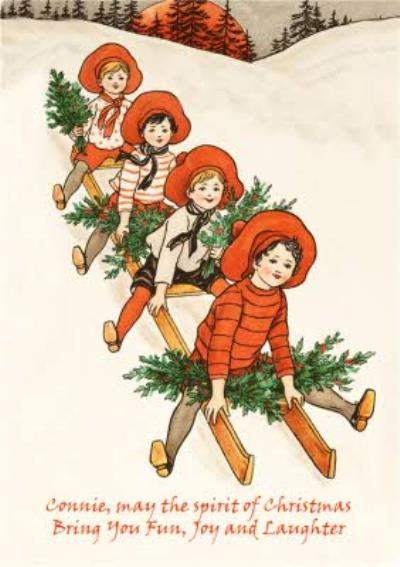 Vintage Sledge Ride Personalised Christmas Card