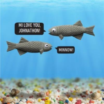 Minnow Fish Funny Puns Personalised Happy Birthday Card