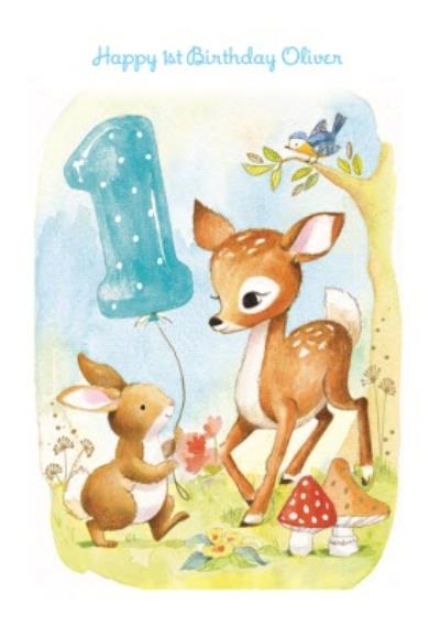 Springtime Rabbit And Fawn Personalised Happy 1st Birthday Card