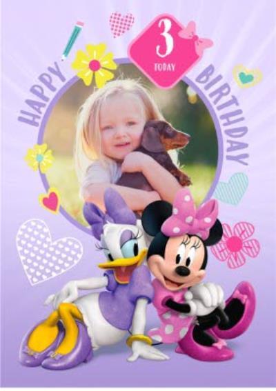 Disney 3Rd Birthday Round Photo Upload Card