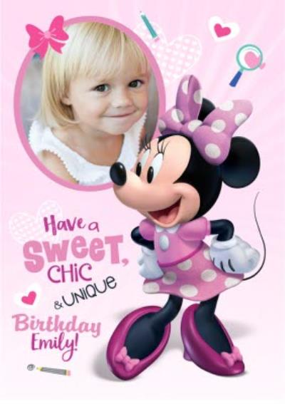 Disney Minnie Mouse Photo Upload Birthday Card