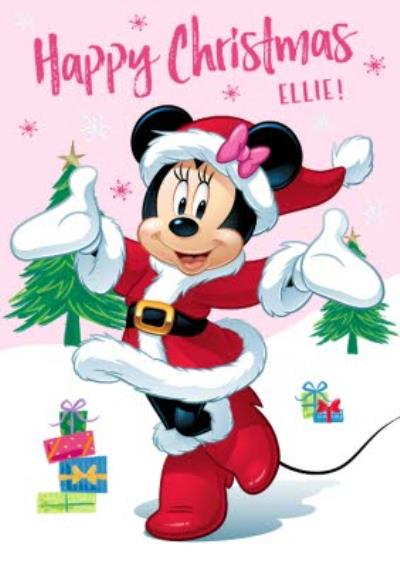 Disney Minnie Mouse Pink Personalised Christmas Card