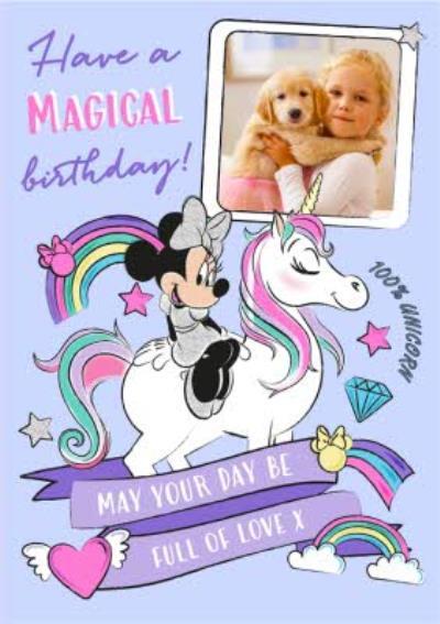 Minnie Mouse photo upload birthday card - unicorn