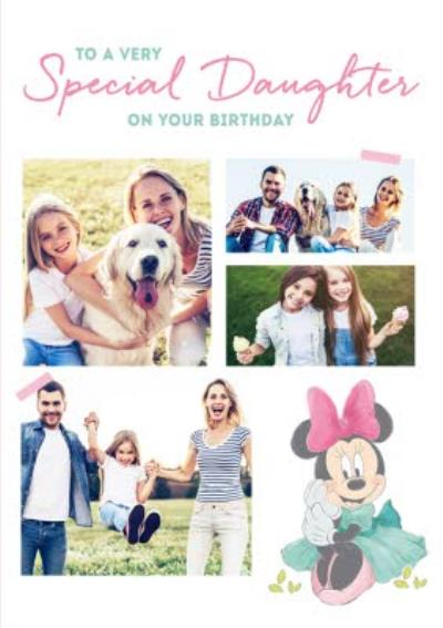 Cute Minnie Birthday Card  - Photo Upload -  Special Daughter