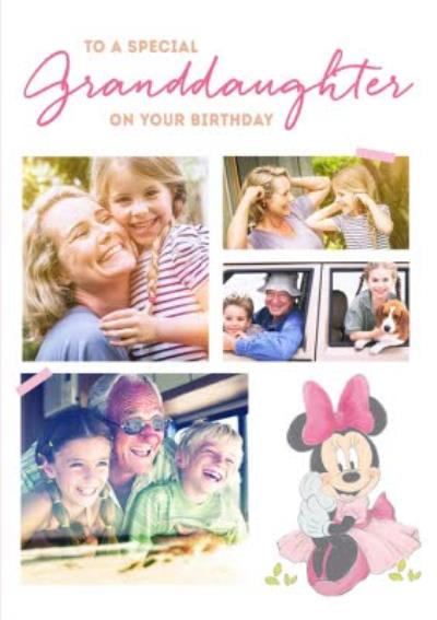 Disney Minnie Mouse Special Granddaughter Photo Upload Birthday Card