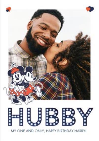 Mickey & Minnie Mouse Husband Photo Upload Birthday Card