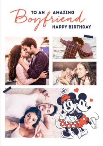Mickey & Minnie Mouse Amazing Boyfriend Photo Upload Birthday Card