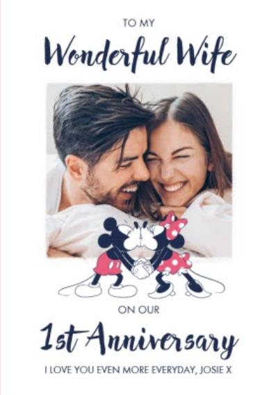 Disney Mickey And Minnie Mouse Wonderful Wife 1st Anniversary Photo Upload Card