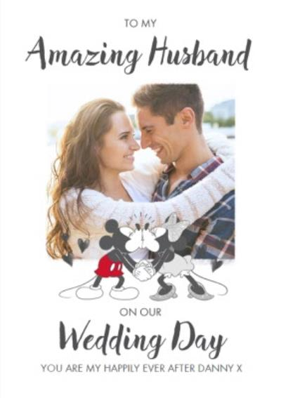Disney Mickey And Minnie Mouse On our Wedding Day Photo Upload Card